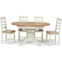Ellen Round Extending Dining Table with Ladder Back Fabric Chairs