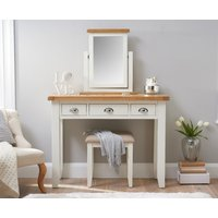Product photograph showing Ellen Oak And White Dressing Table