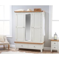 Product photograph showing Ellen Oak And White Three Door Wardrobe