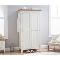 Product photograph showing Ellen Oak And White Two Door Wardrobe