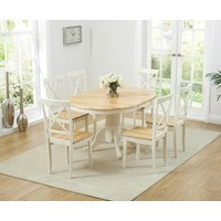 Product photograph showing Epsom Cream Pedestal Extending Dining Table With Chairs