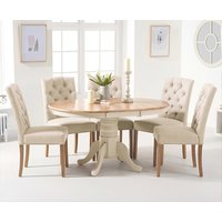 Product photograph showing Epsom Oak And Cream Pedestal Extending Dining Table With Candice Cream Fabric Dining Chairs