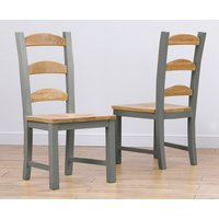 Product photograph showing Eton Grey Solid Pine And Ash Dining Chairs Pairs