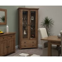 Product photograph showing Rustic Oak Glass Display Cabinet