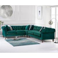Product photograph showing Livi Medium Green Velvet Corner Sofa