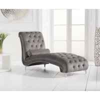 Product photograph showing New Jersey Grey Velvet Chaise Lounge