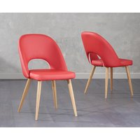 Product photograph showing Harrogate Red Faux Leather Dining Chairs Pairs