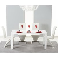Read more about Atlanta 160cm white high gloss dining table with ivory-white hampstead z chairs