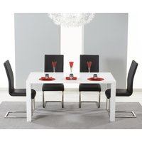 Atlanta 160cm White High Gloss Dining Table with Black Malaga Chairs