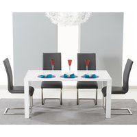 Read more about Atlanta 120cm white high gloss dining table with grey malaga chairs