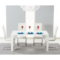 Read more about Atlanta 120cm white high gloss dining table with white malaga chairs
