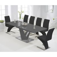 Product photograph showing Harmony 160cm Extending Dark Grey High Gloss Dining Table With Hampstead Z Chairs