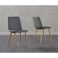 Product photograph showing Hamburg Grey Faux Leather Wooden Leg Dining Chairs Pairs