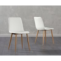 Read more about Hamburg white faux leather wooden leg dining chairs -pairs-