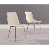 Product photograph showing Hamburg Cream Faux Leather And Chrome Dining Chairs Pairs