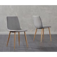 Read more about Hamburg grey fabric wooden leg dining chairs -pairs-