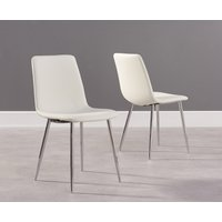 Product photograph showing Hamburg White Faux Leather And Chrome Dining Chairs Pairs