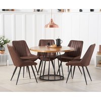 Product photograph showing Highbury 110cm Round Dining Table With Marcel Antique Chairs