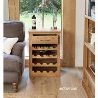 Product photograph showing Mobel Solid Oak Wine Rack Side Table