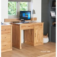 Product photograph showing Mobel Solid Oak Single Pedestal Computer Desk