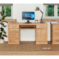 Product photograph showing Mobel Solid Oak Twin Pedestal Computer Desk