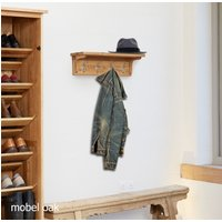 Product photograph showing Mobel Solid Oak Wall Mounted Coat Rack