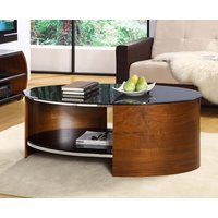 Product photograph showing Curve Walnut Oval Coffee Table