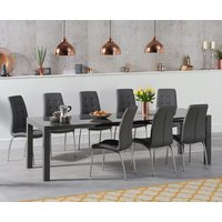 Read more about Jacobi extending dark grey high gloss table with calgary chairs