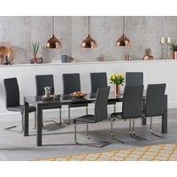 Read more about Jacobi extending dark grey high gloss table with malaga chairs