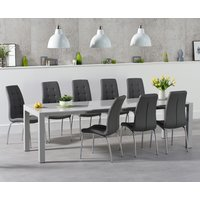 Read more about Jacobi extending light grey high gloss table with calgary chairs