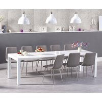 Read more about Jacobi extending white high gloss table with hamburg fabric chrome leg chairs