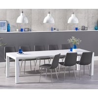 Read more about Jacobi extending white high gloss table with hamburg faux leather chrome leg chairs