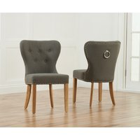 Product photograph showing Knightsbridge Studded Grey Fabric Oak Leg Dining Chairs Pairs