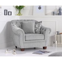 Lacey Chesterfield Grey Plush Fabric Armchair