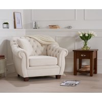 Read more about Lacey chesterfield ivory fabric armchair