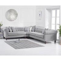 Product photograph showing Livi Medium Grey Linen Corner Sofa