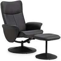 Product photograph showing Lucas Black Faux Leather Swivel And Recline Chair