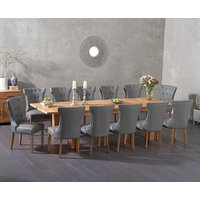 Read more about Madrid 200cm extending solid oak dining table with cora grey faux leather chairs