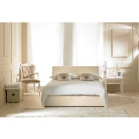 Product photograph showing Madrid Cream Faux Leather Ottoman Small Double Bed