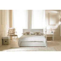 Madrid White Faux Leather Ottoman Double Bed