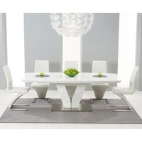 Read more about Malaga 180cm white high gloss extending dining table with ivory-white hampstead z chairs