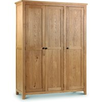 Product photograph showing Marlborough Oak 3 Door Wardrobe With Fitted Interior