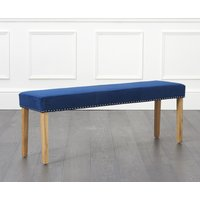 Product photograph showing Mia Large Studded Blue Velvet Bench