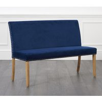 Product photograph showing Mia Large Studded Blue Velvet Bench With Back