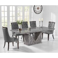 Mocha 180cm Grey Marble Dining Table with Angelica Chairs