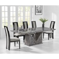 Mocha 220cm Grey Marble Dining Table with Raphael Chairs