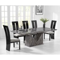 Mocha 220cm Grey Marble Dining Table with Verbier Chairs