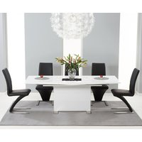 Product photograph showing Modena 150cm White High Gloss Extending Dining Table With Hampstead Z Chairs