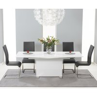 Modena 150cm White High Gloss Extending Dining Table with Charcoal Grey Malaga Chairs