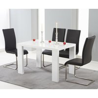 Monza 150cm White High Gloss Dining Table with Black Malaga Chairs
